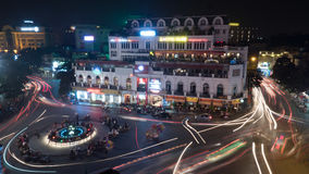 Night motion shot of city traffic in night Hanoi, Vietnam Royalty Free Stock Photo