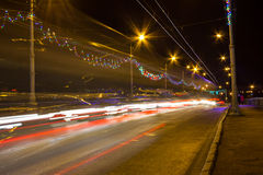 Night Motion On Urban Streets Royalty Free Stock Photo