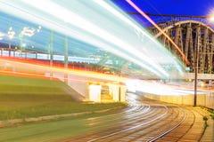 Night motion on urban streets Stock Photos