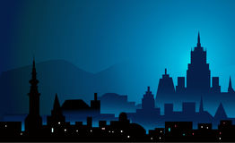 Night mountain city- illustration Stock Photography