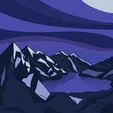 Night mountain Glacial lake landscape. Vector modern illustration. Night mountain landscape. Glacial lake. North landscape. Vector modern illustration Stock Images