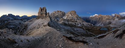 Night mountain landcape panorama range in Tre Cime di Lavaredo.D Royalty Free Stock Photos