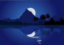 Night mountain landscape with full moon and reflection in the water. Royalty Free Stock Image