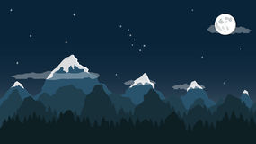 Night mountain landscape. Ladscape with mountains and trees Stock Image