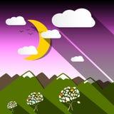 Night Mountain Landscape with Moon stock illustration