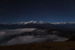Night mountain landscape on a starry night. royalty free stock images