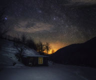 Night in the  mountain. Night in the mountain with little cabin Stock Images