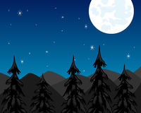 Night in mountain and moon Royalty Free Stock Images