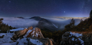 Night mountain panoramic view landcape royalty free stock images