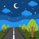 Night mountain scenery vector flat design illustration Royalty Free Stock Image