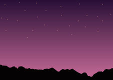 Night Mountain with stars at sky in purple color silhouette vector Illustration. Desing Royalty Free Stock Images