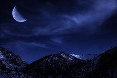 Night mountain winter landscape Stock Photography