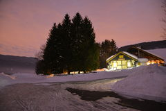 Alpine hut. A night in the mountains with an alpine hut and bar Royalty Free Stock Photography