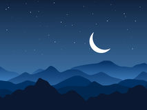 Night mountains and starry night Stock Image