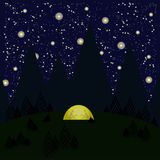 Night, mountains, trees, forest, tent glows yellow, gray shadows of woman and the men in the tent, starry night sky. Dark blue background, glowing white Royalty Free Stock Photos
