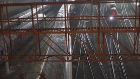Night movement of trains on a railway junction. Moscow stock video footage