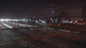 Night movement of trains on a railway junction. Moscow stock footage