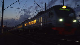 Night movement of trains on a railway junction. Russia stock footage