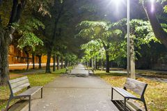 Night Moyzesova park in Kosice, Slovakia. Royalty Free Stock Images