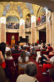 Night of Museums in Bucharest - George Enescu Nati. Visitors enjoying classic music at George Enescu National Museum, Cantacuzino Palace, with the occasion of Stock Images