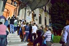 Night of Museums in Bucharest - George Enescu National Museum. Crowd waiting to visit George Enescu National Museum, Cantacuzino Palace, with the occasion of The Royalty Free Stock Images