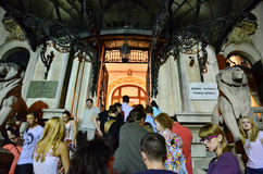 Night of Museums in Bucharest - George Enescu National Museum. Crowd waiting to visit George Enescu National Museum, Cantacuzino Palace, with the occasion of The Stock Image