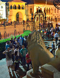 Night of Museums in Bucharest - George Enescu National Museum. Crowd waiting to visit George Enescu National Museum, Cantacuzino Palace, with the occasion of The Stock Photo