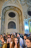 Night of Museums in Bucharest - George Enescu National Museum. Visitors at George Enescu National Museum, Cantacuzino Palace, with the occasion of The European Royalty Free Stock Photography