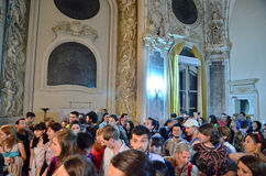 Night of Museums in Bucharest - George Enescu National Museum. Visitors at George Enescu National Museum, Cantacuzino Palace, with the occasion of The European Royalty Free Stock Images