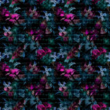 Night mysterious flowers, hand written letter text. Black background. Seamless pattern Royalty Free Stock Images