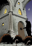 Night, mystery and mice. Fantasy illustration of a dark man opening on an ancient castle's door Stock Photo