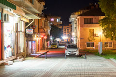 Night narrow street in the centre of old Pomorie, Bulgaria stock photos