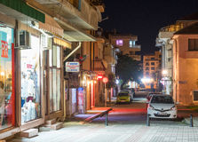 Night narrow street in the centre of old Pomorie in Bulgaria Royalty Free Stock Photos