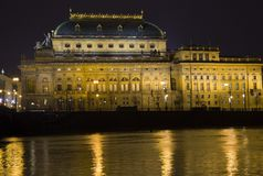 Night National Theatre in Prague. royalty free stock photo