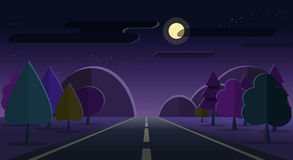 Night nature landscape road, mountains, forest moon cloud stars sky Royalty Free Stock Photo