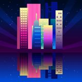Night neon city in synthwave style. New York urban background with colorful gradients stock illustration
