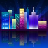 Night neon city in synthwave style. New York urban background with colorful gradients vector illustration