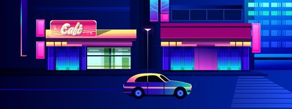 Night neon city. Vector illustration, night neon city, street with luminous signs and a cafe with shop windows stock illustration
