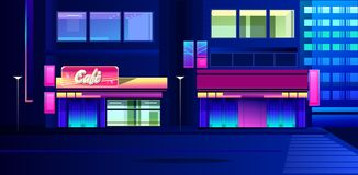 Night neon city. Vector illustration, night neon city, street with luminous signs and a cafe with shop windows vector illustration