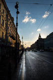 Night Nevsky Prospekt with a silhouette of the home of Royalty Free Stock Image