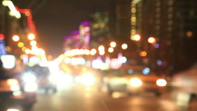 Night New Arbat avenue traffic, Moscow, Russia. Out of focus view at evening New Arbat avenue traffic, Moscow, Russia stock video