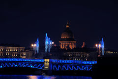 Night new year views of St. Isaac's Cathedral Stock Images