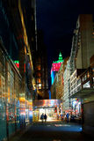 Night in New York City. New York nightlife. deserted street illuminated evening festive illumination Royalty Free Stock Photography