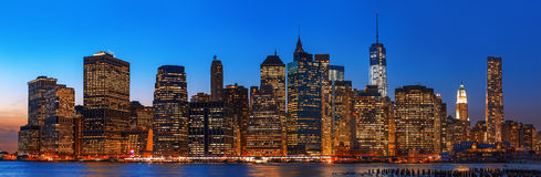 Night New York City skyline panorama. Manhattan. Night New York City skyline panorama with lights and reflections Stock Images