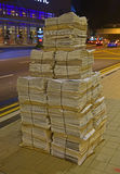 Night Newspaper Ready for Distribution Stock Photo