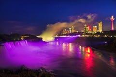 Night at Niagara Falls And American Falls, New York, USA Royalty Free Stock Photography