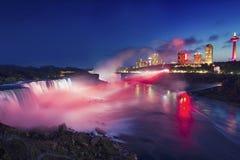 Night at Niagara Falls And American Falls, Newyork, USA Stock Image