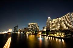 Night nice in bangkok. One night on Bangkok ,Thailand The river Chaophaya have be nice night Royalty Free Stock Images