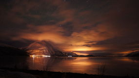 Night in Norway. This picture was take during the dark night in Norway Stock Photo