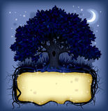 Night oak tree wih a banner Royalty Free Stock Images